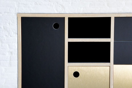 Atelier Antipode office credenza in plywood with forbo desktop furniture linoleum en gold brushed laminate