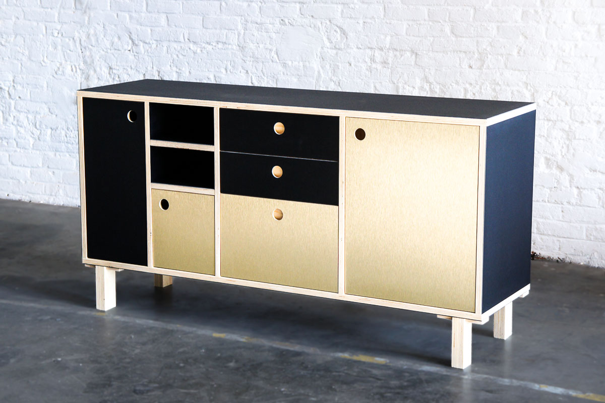 Atelier Antipode office cabinet in plywood with forbo desktop furniture linoleum and gold brushed laminate