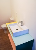 bathroom furniture in plywood with colorful hpl laminate